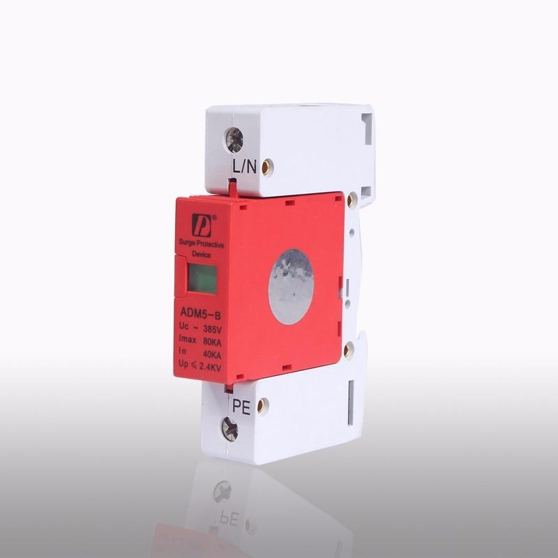 DIN Rail 35mm 80KA 1P 385V AC SPD Lightning Arrester Low-voltage Surge Protector<br><br>Aliexpress