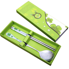 High Quality Fine Stainless Steel Chopsticks Spoon Suit Gift Box For Home Restaurant Hot Sale E3