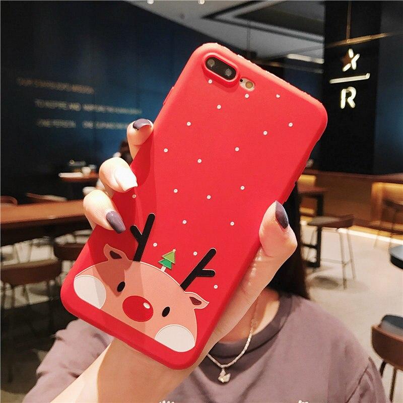 KISSCASE-Christmas-Phone-Case-For-iPhone-XR-XS-7-8-Lovely-Cartoon-Santa-Claus-Elk-Soft(7)