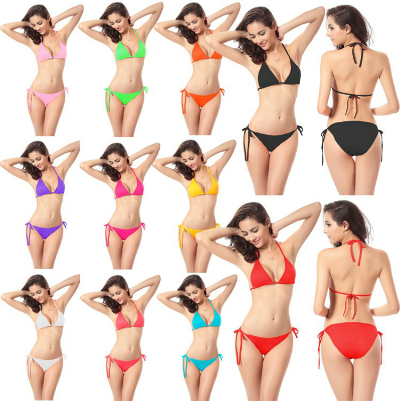 2017 Summer Styles Sexy Halter Crop Top Bikinis Womens Print Push Up Swimwears Women Swimsuit Beach Bathing Suit Beach Wear<br><br>Aliexpress