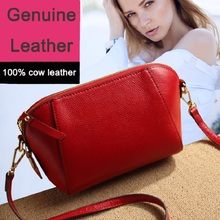 2017 fashion women genuine leather shell shoulder bag for female burgundy blue black ladies cow leather crossbody bags YI066