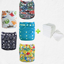 5Pcs Baby Reusable Nappies Newborn Washable Cloth Diapers For Children Baby Diapers Breathable Potty Training Pants+5pcs Inserts(China)