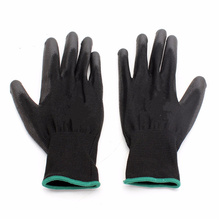 12pair/set PU518 Anti-static 13 Needle Color Nylon Gloves Hand Safely Security Protector L Black Wear-resistant Non-slip