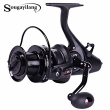 Sougayilang Carp Spinning Fishing Reels Left/Right Handle Metal Spool 12+1BB Stainless steel Shaft Rear Drag Wheel De Pesca(China)