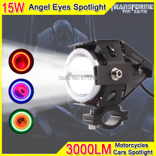 15W Projector Fog light Motorcycle Angel Eyes Strobe Spotlight DRL Led Light Red Angel Eyes For Trucks Boats Offroad Roof Light