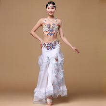 New 2017 Performance Egyptian Belly Dancing Oriental Dance Costumes Set 3pcs Bra, Belt, Skirt Belly Dance Costume Professional(China)