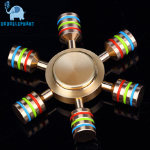 DODOELEPHANT JX-6 Rainbow Fidget Spinner Metal Finger Spinner Hand Spinner Brass For Autism Adult Anti Relieve Stress Toy Spiner