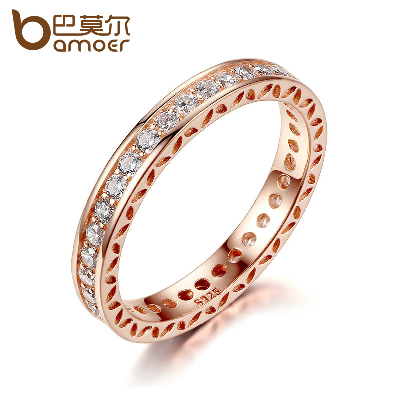 BAMOER Classic Wedding Finger Ring Rose Gold Color Rings Zircon 3mm Width Fashion Ring Jewelry PA7215