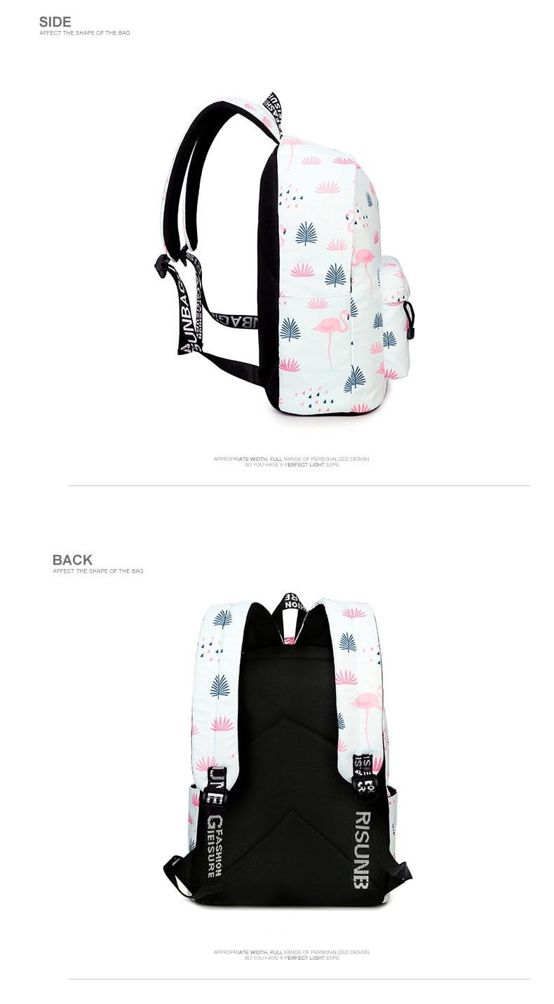 WINNER Fashion Backpack Flamingos Cute School Bags For Adolescent Girls Travel Rucksacks Laptop Mochilas Mujer 2018 (4)