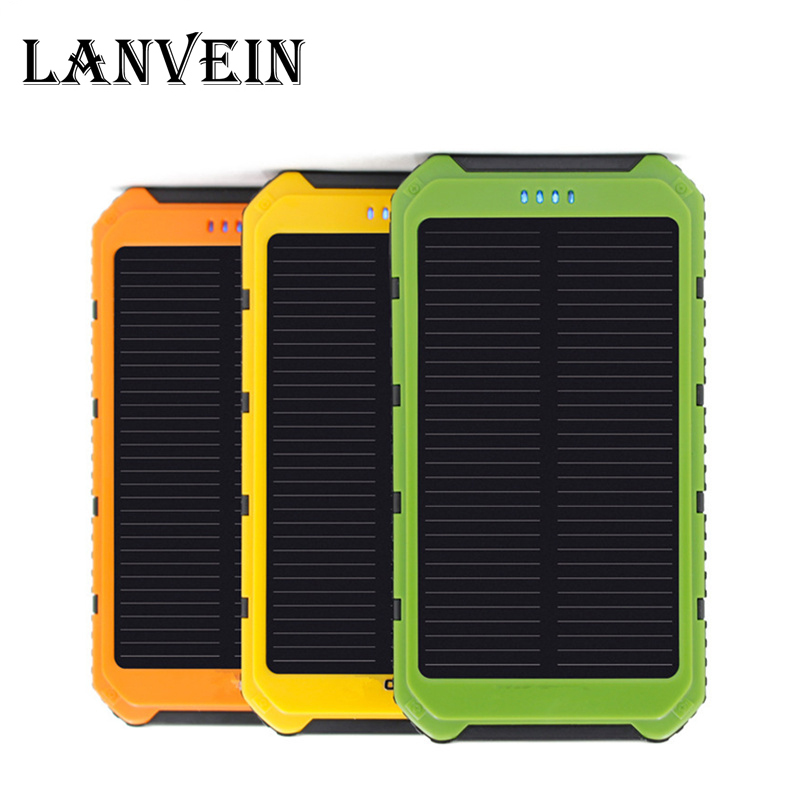 10000mAh mobile font b power b font Solar Charger Waterproof Solar Phone External Battery Dual USB