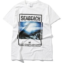 Unisex T-shirt Women Summer Seabeach Pattern Printed Tee Top Street Casual Style Graphic T Shirt Loose Cotton Tshirt Black White