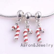 19.5x9mm 10 Pcs christmas candy cane Beads Charms Fit Pandora Jewelry Bracelet For Jewelry Handmade YKL0476(China)
