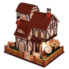 Flower Town Large Villa DIY Wood Doll house 3D Miniature Dust cover+Music box+Lights+Furnitures Building model Home&Store deco