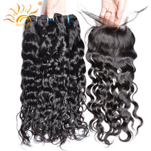 Sunlight Human Hair Water Wave 3 Bundles With Closure Free Part Lace Closures With Baby Hair No Remy Brazilian Hair Weave Bundle(China)