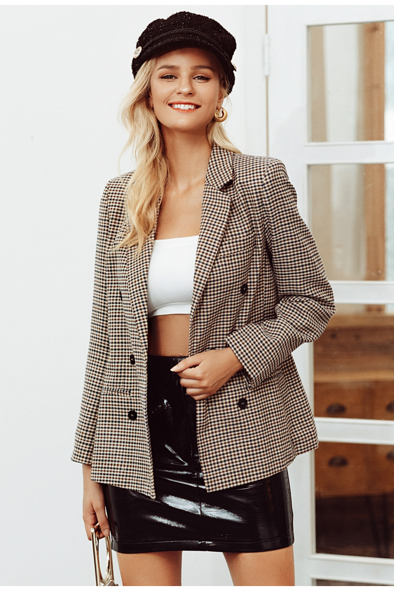Double breasted plaid Long sleeve blazer