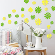 newest colorful DIY 3D flower red green blue yellow white flora home decals decorative wall sticker TV background party decals