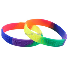 300pcs we stand together Equality Rainbow Awareness wristband silicone bracelets free shipping by FEDEX(China)