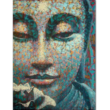 Dafen Painter Team Directly Supply High Quality Abstract Buddha Portrait Oil Painting on Canvas Abstract Colors Buddha Painting(China)