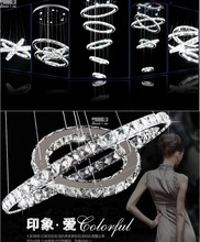 Free shipping Hot sale Diamond Ring LED Crystal Chandelier christmas Light Modern Pendant Lamp 3 Circles(China)