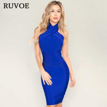 Wholesale Female Pencil Dress Elegant Lady Blue Red Nude White New Year Halter Sheath Fitted Women Bodycon Bandage Dres YQ-270