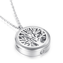 Tree of Life Cremation Urn Pendant Necklace For Ashes Oil Locket Diffuser 2 Use Memorial Ash Keepsake Urns For Pet/Human Jewelry(China)