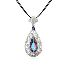 Luxurious Antique Water Drop Pendant Pierced Long Rope Necklace Made with Swarovski Element Teardrop Crystal Women Party Jewelry(China)