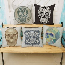 Creative Skull  Pillow Cases for Car Sofa chair Cotton Linen Decorative Car Back Waist Pillows Cover High Quality Cusion Cover