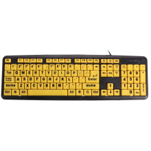 USB Big letters Yellow button Elderly keyboard(China)