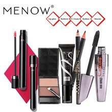 Menow Waterproof Long Lasting Mascara Women Makeup Beauty Set Waterproof Lip Gloss Eyebrow CC Cream Mascara Set(China)