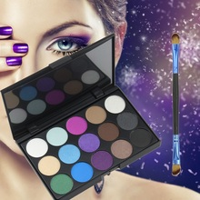 15 Earth Color Matte Glitter Eyeshadow Palette Cosmetic Makeup Set Eye Shadow Palettes With 1 Double Ended Eyeshadow Brush(China)