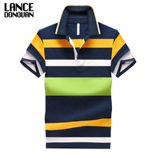 92% Cotton camisa Men Polo Shirt 2015 Casual Striped Slim short sleeves ASIAN SIZE M-4XL(China)