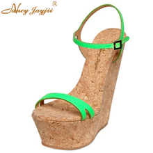 Fashion Super Green Pink Blue Wedges Sandals Leather Shoes Summer High Platform Party Shoes High Heel Women Wedge Shoes Size 11