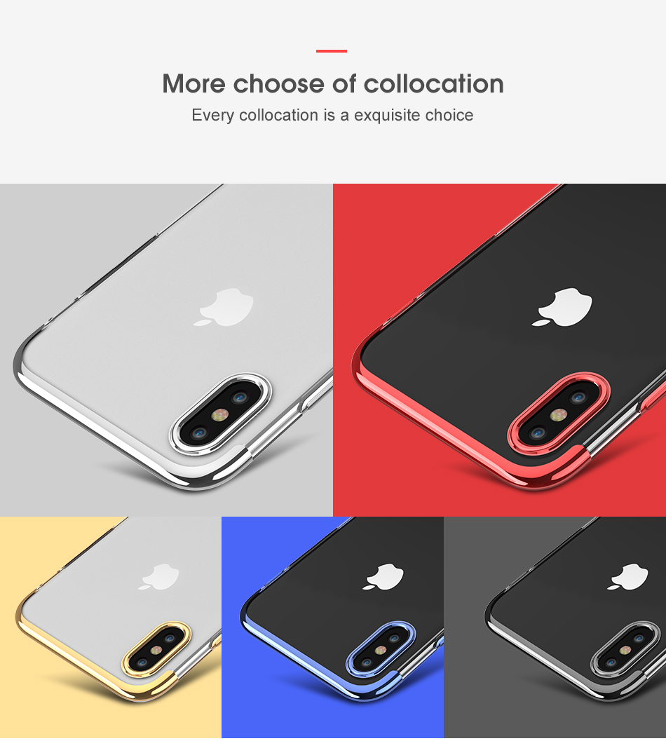 FLOVEME Luxury Plated TPU Case For iPhone X 10 Transparent Ultra Thin Silicone Cover For iPhone 7 6 6S Plus Phone Accessories 11