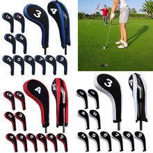 High Quality 12Pcs Rubber Neoprene Golf Head Cover Golf Club Iron Putter Protect Set Number Printed with Zipper Long Neck(China)
