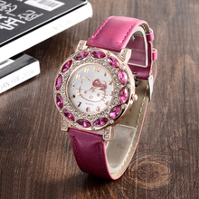Cartoon Watch New Arrival Lovely Girls Hello Kitty Women Watch Children christmas Fashion Kids Crystal Wrist Watch For Gift.(China)