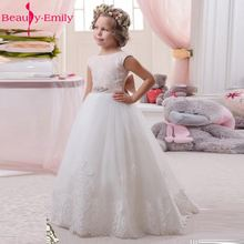 Beauty-Emily White Flower Girl Dresses Cheap A Line Sleeveless Long Pageant Lace Bead Crystal Girl Gowns for Weddings Party Dres(China)