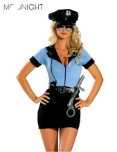 MOONIGHT New Police Fancy Halloween Costume Sexy Cop Outfit Woman Cosplay Sexy Erotic Lingerie Police Costumes for Women 3 piece