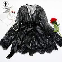 Buy ALINRY Babydoll Sexy Lingerie Women Lace Transparent Open Robe Erotic Costumes Porno Underwear Vertical Stripes Sleepwear Dress