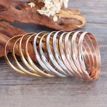 Heavy 106g 12pcs/ set  Lovely Baby Kid's Gifts Stainless Steel Silver/ Gold/ Rose Gold Cuff  Bracelet Bangle Bling 3.8mm*55mm