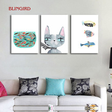 Factory outlets Nordic Three-picture Combination cat and fish story shop home decoration hotel picture no frame Art print poster