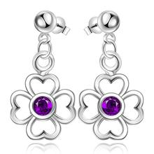 Blue Kiss 2016 New Summer Style Simulated Pearl purple Rhinestone four Leaves And Flowers lucky Drop Earrings For Women ED2685