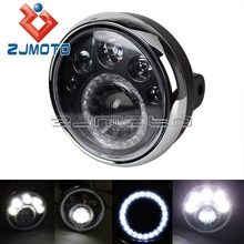"ZJMOTO Custom 7"" Round Motorcycle LED Headlight E-mark 12V LED Motorcycle Head lights Vision Lamp Headlamp For Chopper Bobber"