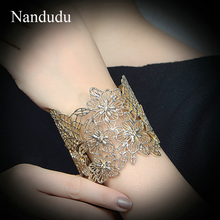 Nandudu New Arrival Wide Cuff Bracelet Multi color Fashion Bangle Jewelry Gift Women Girl Hollow Flower Bangles