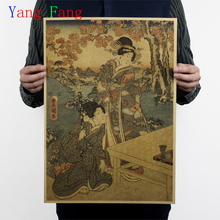 Vintage Style Paper Poster Retro Wall Stickers Japanese Decoration paper poster 51*35CM