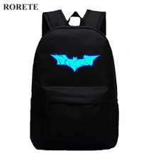 RORETE Batman bags Luminous Printing Backpack Teenage Girls Cute Bookbags Vintage Laptop Backpacks Female Bat canvas backpack