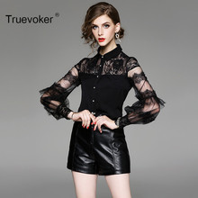 Truevoker Spring Designer Blouse Women's Noble Black Full Sleeve Peter Collar Sheer Lace Patchwork Boutique Top(China)
