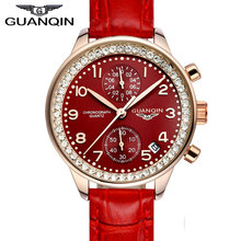 2016 fashion casual watch women GUANQIN brand crown genuine Sapphire waterproof quartz female wacthes stainless steel