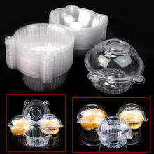 50pcs/Set Disposable Transparent Food Grade Plastic Single Cupcake Holders Muffin Cake Cases Boxes DIY Cake Cups Container Tools
