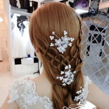 Free shipping the bride headdress sell like hot cakes Red beads flowers inserted Wedding hair accessories Pearl jewelry