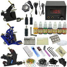 OPHIR TOP Complete Tattoo Kit 3 Tattoo Machine 7 Color Tattoo Inks 50pcs Needles & Stainless Steel Nozzle Grip Sets _TA080(China)